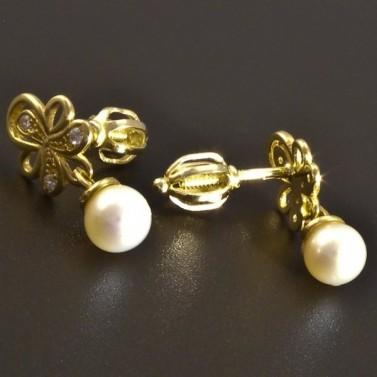 Zlaté náušnice s malou kultivovanou perlou 8322 č.2