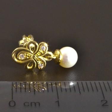 Zlaté náušnice s malou kultivovanou perlou 8322 č.3