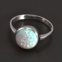 Stříbrný prsten s kulatým bílým opálem 8331