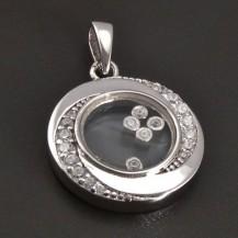 Stříbrný přívěsek s pohyblivými kamínky 8375