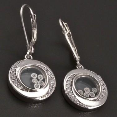 Stříbrné náušnice s pohyblivými kamínky 8392 č.1