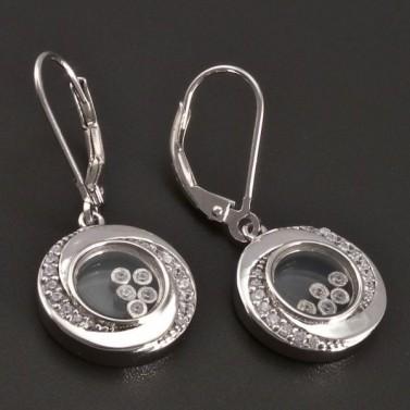 Stříbrné náušnice s pohyblivými kamínky 8392 č.2