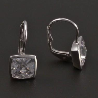 Stříbrné náušnice čtvercový zirkon 8413 č.2