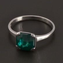 Prsten z bílého zlata se smaragdem 8419