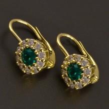 Zlaté náušnice se smaragdem a zirkony 8435