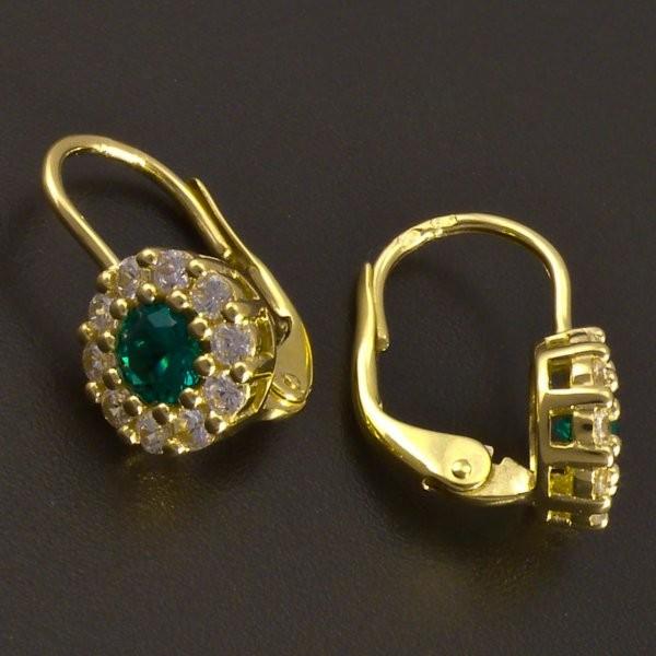 4a54f54cb Zlaté náušnice se smaragdem a zirkony | goldpoint.cz