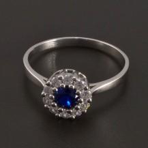 Zlatý prsten se safírem a zirkony 8436