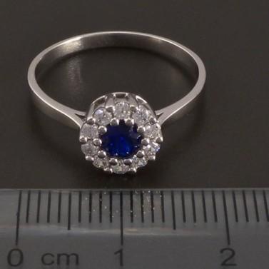 Zlatý prsten se safírem a zirkony 8436 č.2