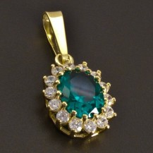 Zlatý přívěs smaragd se zirkony 8438