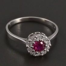Prsten s kulatým rubínem bílé zlato 8465