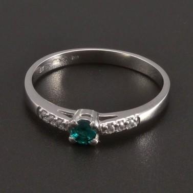 Prsten z bílého zlata smaragd 8466 č.1