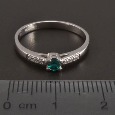 Prsten z bílého zlata smaragd 8466 č.2