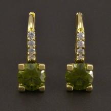 Zlaté náušnice s olivínem 8468