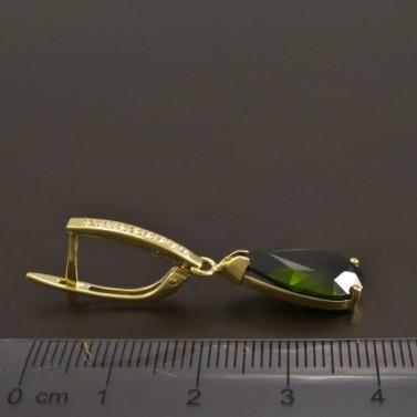 Zlaté náušnice s kapkovitým olivínem 8478 č.3