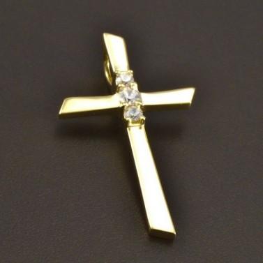 Zlatý kříž se třemi zirkony 8479 č.1