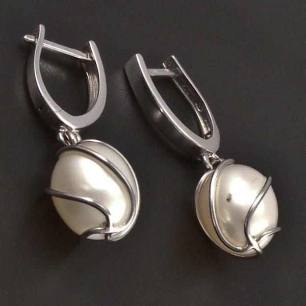 Náušnice se zavěšenou perlou bílé zlato č.1 ... c80549ce031