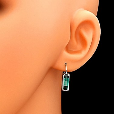 Náušnice stříbro obdélníkový smaragd 5536 č.3
