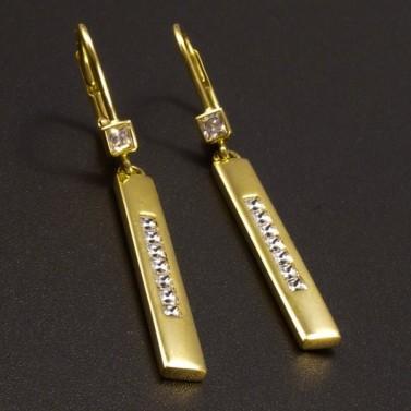 Zlaté náušnice dlouhé zdobené zirkony č.1