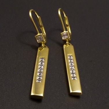 Zlaté náušnice dlouhé zdobené zirkony č.2