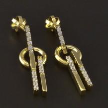Zlaté náušnice kolečko a tyčka