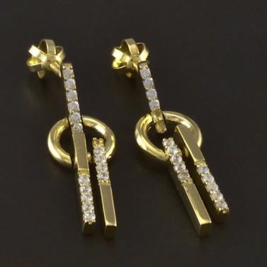 Zlaté náušnice kolečko a tyčka č.1
