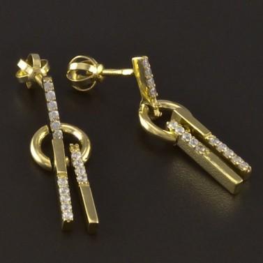 Zlaté náušnice kolečko a tyčka č.2