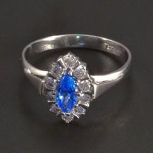 Zlatý prsten světlemodrý spinel