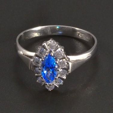 Zlatý prsten světlemodrý spinel č.1
