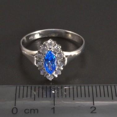 Zlatý prsten světlemodrý spinel č.2