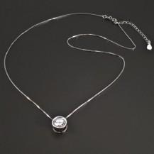 Stříbrný náhrdelník s kulatým zirkonem