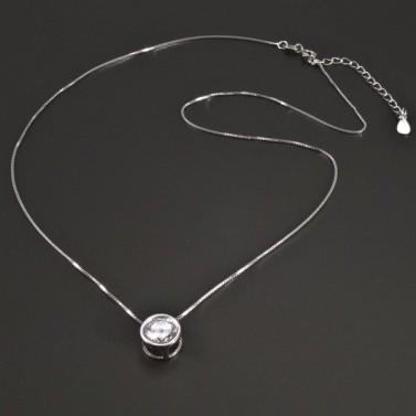 Stříbrný náhrdelník s kulatým zirkonem č.1