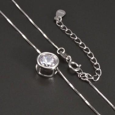 Stříbrný náhrdelník s kulatým zirkonem č.2