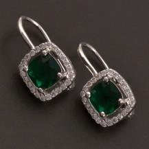 Stříbrné náušnice smaragd