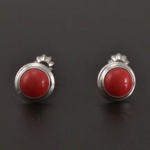 Stříbrné náušnice s červeným korálem