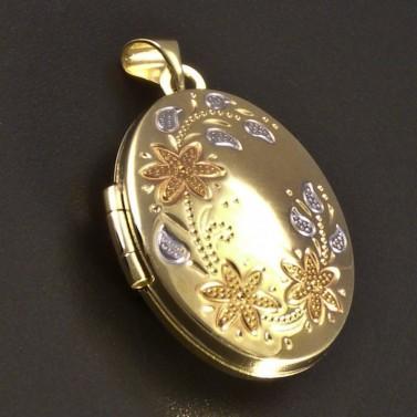 Zlatý medailon rytina květů č.1