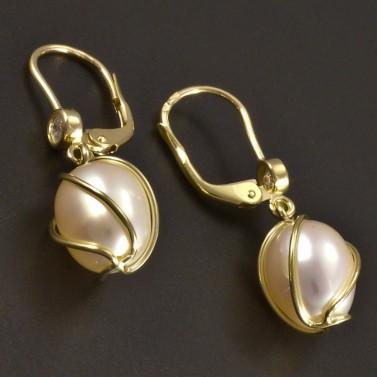Zlaté náušnice s bílou perlou a zirkonem č.2