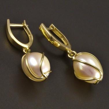 Zlaté náušnice s perlou v klícce č.1