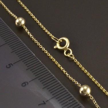 Zlatý řetízek s kuličkami 4 mm č.3