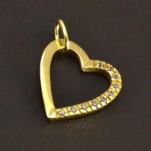 Zlatý přívěsek ve tvaru srdce se zirkony