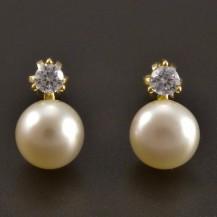 Zlaté náušnice perla se zirkonem