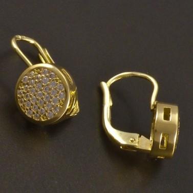 Kulaté zlaté náušnice se zirkony č.2
