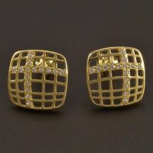 Zlaté náušnice prořezávaný čtverec