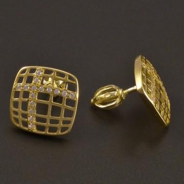Zlaté náušnice prořezávaný čtverec č.2