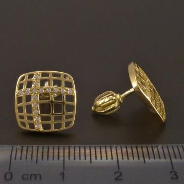 Zlaté náušnice prořezávaný čtverec č.3