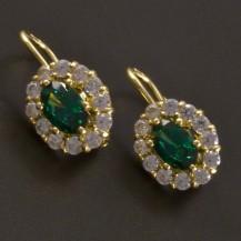Zlaté náušnice s oválným smaragdem a zirkony