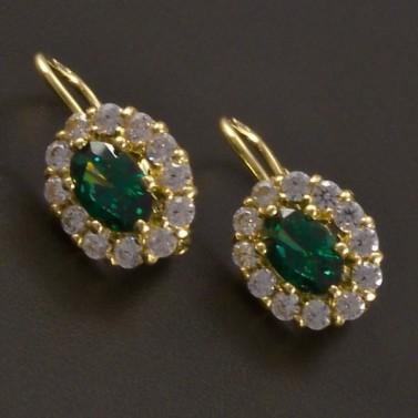 Zlaté náušnice s oválným smaragdem a zirkony č.1