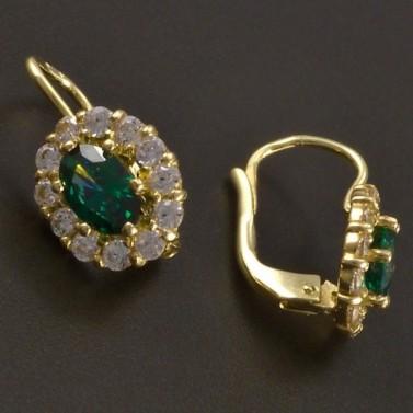 Zlaté náušnice s oválným smaragdem a zirkony č.2