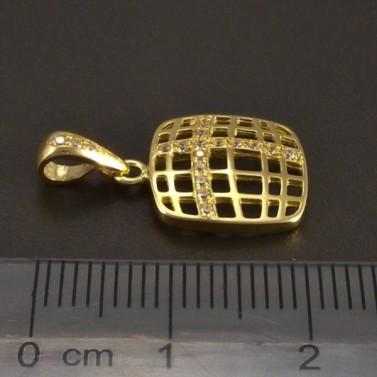 Zlatý přívěs prořezávaný čtverec se zirkony č.2