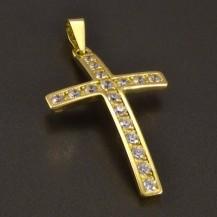 Zlatý přívěsek křížek se zirkony