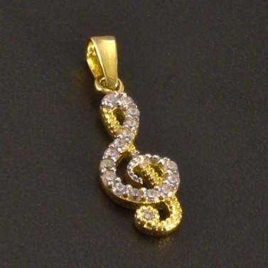 Zlatý přívěs houslový klíč se zirkony č.1